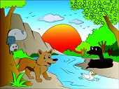 pic of jungle snake  - Vector illustration of scared squirrel and fox watching snake on other side of the lake - JPG