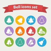 Vector white Bell icons set