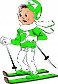 Vector Of Boy Skiing.