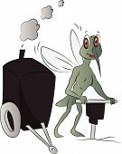 Vector Of Mosquito With Power Jackhammer.