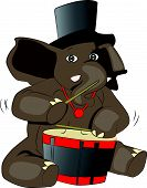 Vector Of Elephant Drumming.
