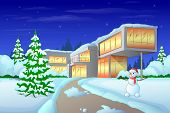 christmas holiday modern house winter snow, snowman