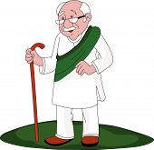 Vector Of Senior Man Walking With Stick.