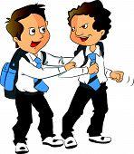 Vector Of Schoolboys Fighting.