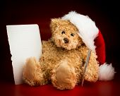 Brown Teddy Bear Writing A Letter To Santa Claus