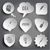 Human brain, idea, feather, ink pen, attention, glue bottle, shift globe, little man with globe, brush. White vector buttons on gray.