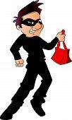 Vector Of Thief Running With Stolen Handbag.