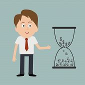 Businessman And Big Hourglass With Dollar And Euro Money Signs.