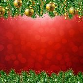 Fir Tree Border With Red Background With Gradient Mesh, Vector Illustration