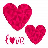 Two Pink Hearts. Polygonal Effect. Love Card. Isolated.