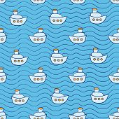 Summer seamless pattern with ship images blue ocean background in doodle style