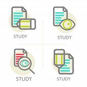 Set of line design concept icons education,  learning