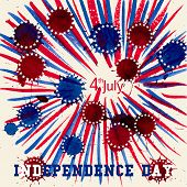 Greeting card with U.S. flag. Independence day of United states.