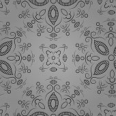 Floral Pattern On A Grey Background