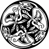 Celtic Design Of A Three Dogs Biting Their Tails Intertwined Inside A Circle