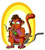 pic of cigarette lighter  - Monkey smoking holding a lighter and cigarette stick vector illustration - JPG