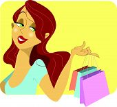 Cute Redhead Woman With Shopping Bags