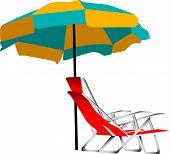 Beach Umbrella And Chair