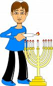 picture of hanukkah  - A man lights a candle for the holiday of Hanukkah vector - JPG