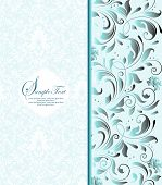 pic of dinner invitation  - Vintage invitation card with ornate elegant retro abstract floral design gray and light blue flowers and leaves on pale blue and white background - JPG