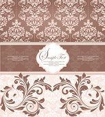 image of flesh  - Vintage invitation card with ornate elegant retro abstract floral design khaki and light brown flowers and leaves on flesh background with ribbon label - JPG