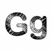 Grunge Scratch Letter G Alphabet Symbol Design On White.