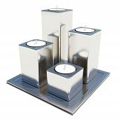 Four Silver Or Stainless Candle Holders On A Platter