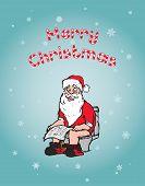 Christmas Concept: Santa Using Toilet
