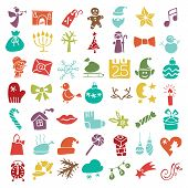 Christmas, New Year colored icons silhouette set