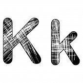 Grunge Scratch Letter K Alphabet Symbol Design On White.