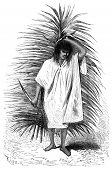Man Carrying A Palm Frond And Knife, Vintage Engraving.