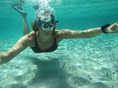 Female Swimmer Blowing Bubbles Under Water