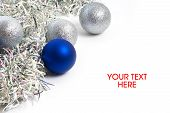 Christmas Balls And Tinsel Symbol Of New Year Isolated