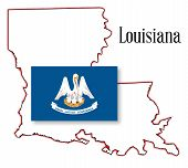 Louisana State Map And Flag