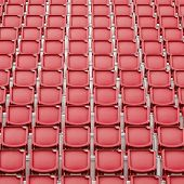 pic of bleachers  - Red seat in sport stadium empty seats ready for the public - JPG