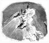 Summit Of The Matterhorn, Vintage Engraving.