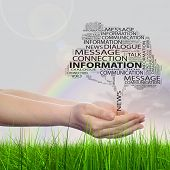 Concept or conceptual tree contact word cloud tagcloud in man or woman hand on rainbow sky grass background