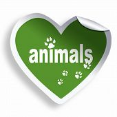 Green Heart Sticker With Animals Text And Tracks
