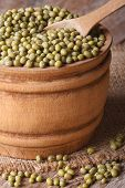 Mung Beans In A Wooden Bowl On The Table, Vertical