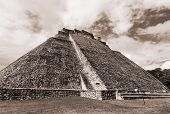 stock photo of yucatan  - Mayan pyramid in Uxmal - JPG