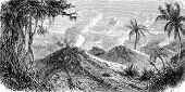 Volcanoes Turbaco, Vintage Engraving.