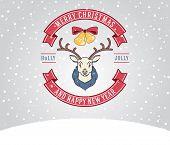 Christmas Greeting Card With Deer