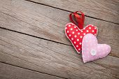 Valentines day background with toy hearts and copy space
