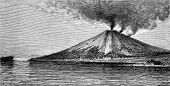 The Volcano In Banda, Vintage Engraving.
