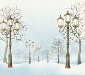 Christmas evening winter landscape with vintage lampposts.