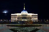 Ak Orda. Presidential Palace In Moonlight Night.