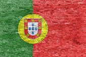 Portuguese Flag Over Brick Wall