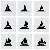 Vector sailboat icon set