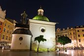 Krakow, Poland - October 09 2014: The Single-nave Building Of Church Of St. Wojciech In The Market S