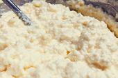 Preparing Dough. Ingredients With Milk, Flour, Curd, Eggs, Sugar